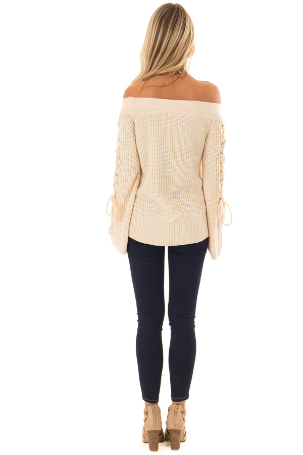 Cream Off the Shoulder Sweater with Lace Up Detail back full body