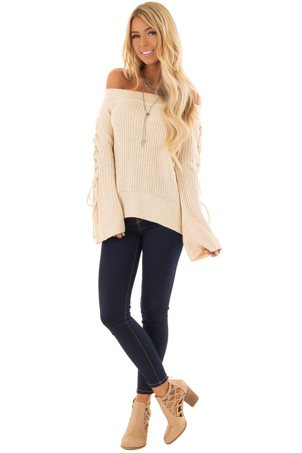 Cream Off the Shoulder Sweater with Lace Up Detail front full body