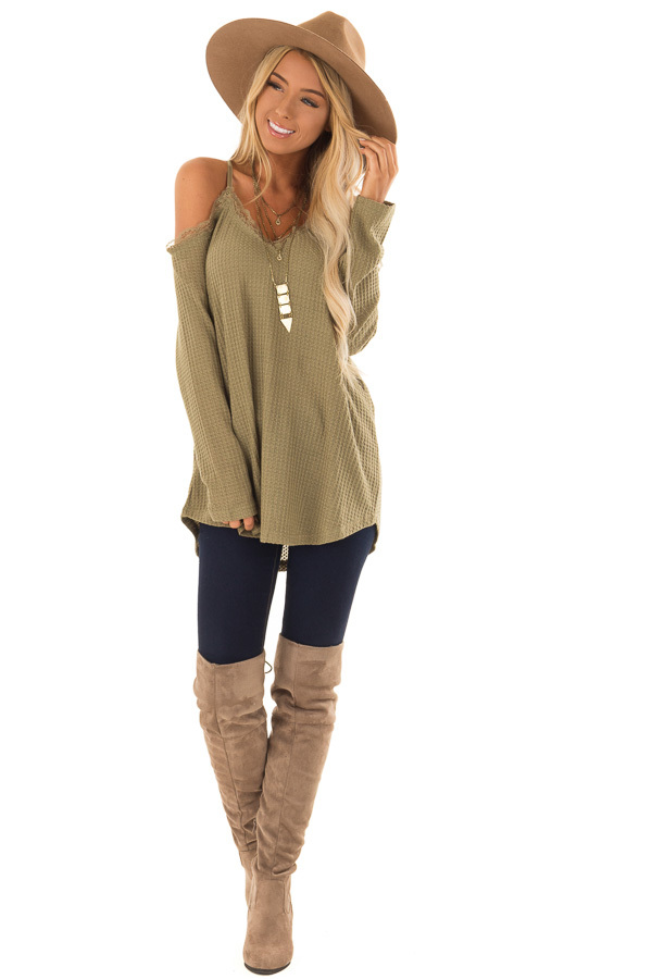 2d02641b1406e ... close up · Olive Green Cold Shoulder Waffle Knit Top with Lace Detail  front full body ...