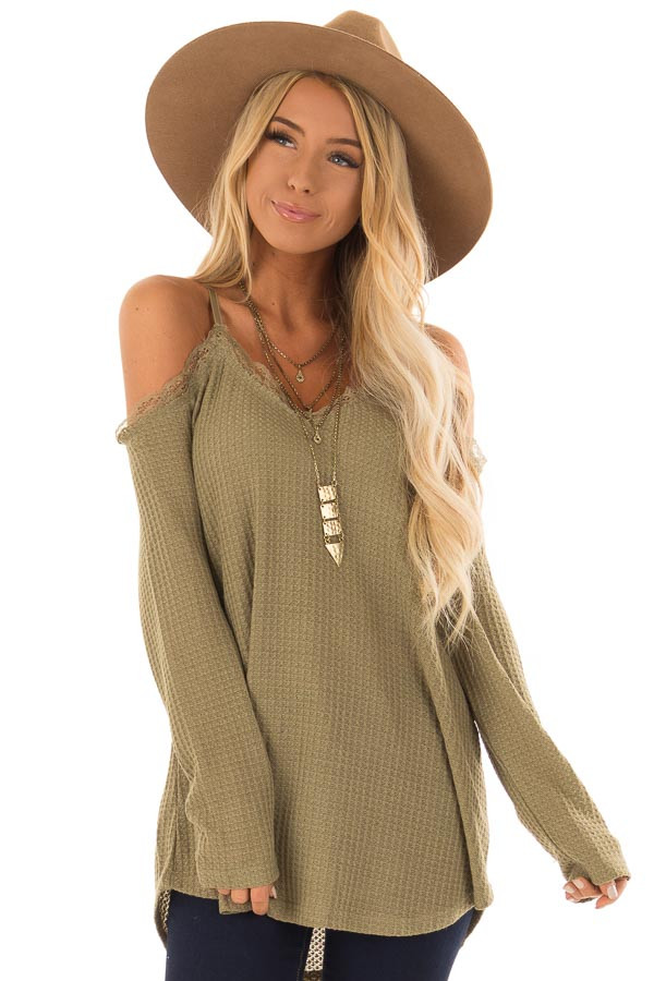 4b3f60779f69d Olive Green Cold Shoulder Waffle Knit Top with Lace Detail front close up