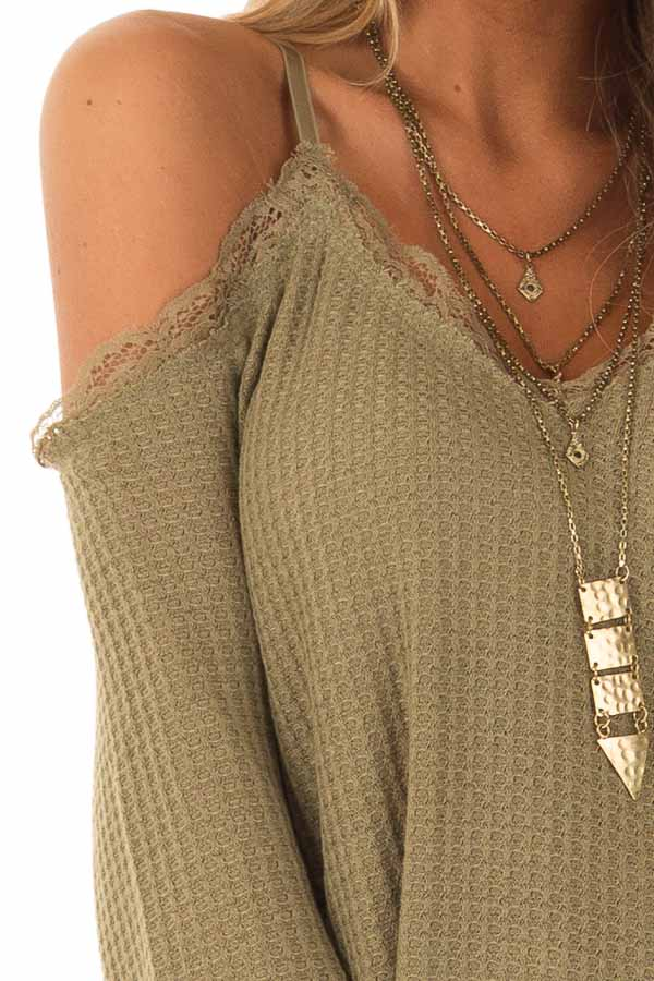 7b287a6d9853f Olive Green Cold Shoulder Waffle Knit Top with Lace Detail - Lime ...