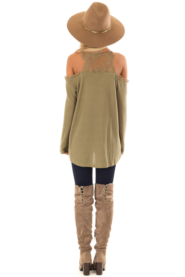 470c1a5bbdd54 ... Olive Green Cold Shoulder Waffle Knit Top with Lace Detail back full  body ...