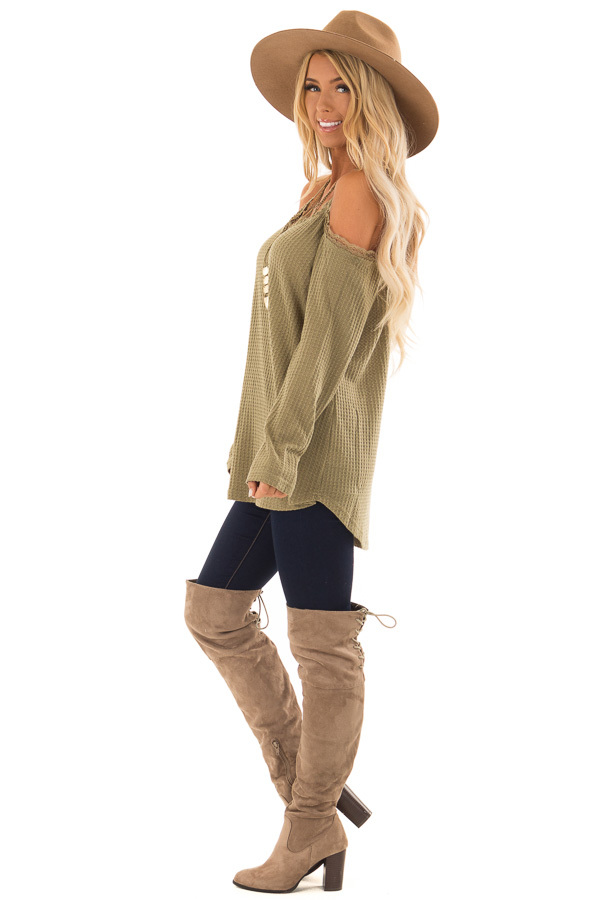 4f732fb053891 ... front full body · Olive Green Cold Shoulder Waffle Knit Top with Lace  Detail side full body ...