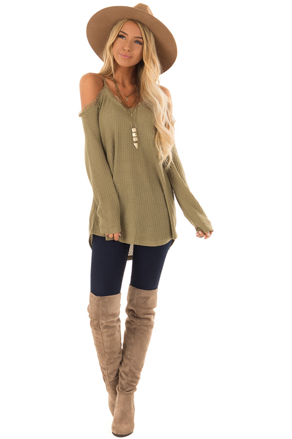 c24ccf246d18a Olive Green Cold Shoulder Waffle Knit Top with Lace Detail front full body  ...
