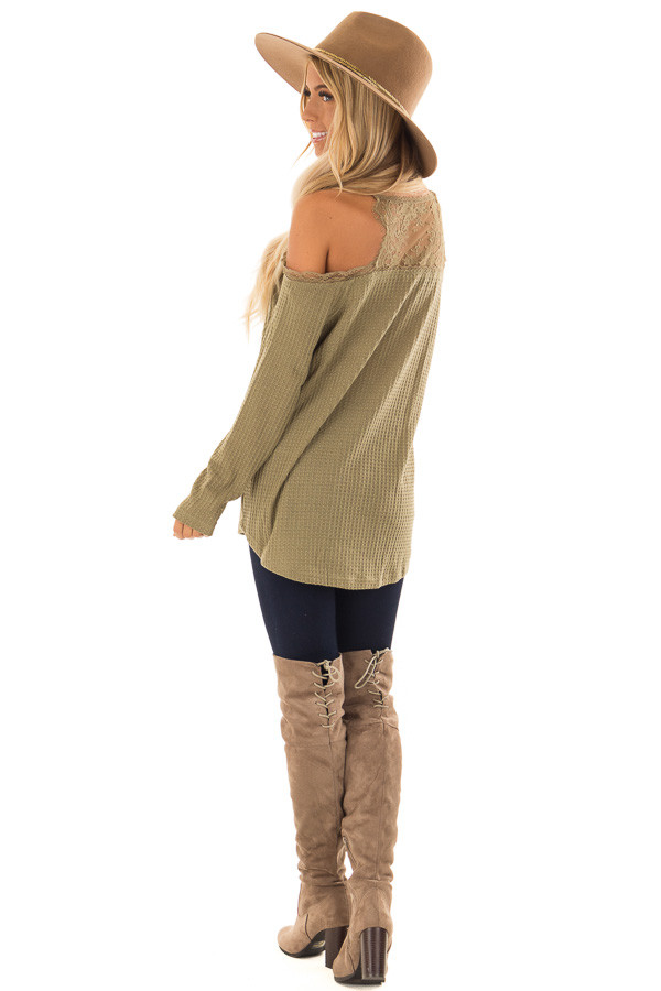 672c6d99f936d ... Olive Green Cold Shoulder Waffle Knit Top with Lace Detail back side  full body ...