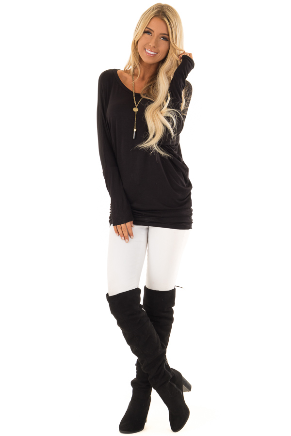 Black Boatneck Top with Long Dolman Sleeves front full body