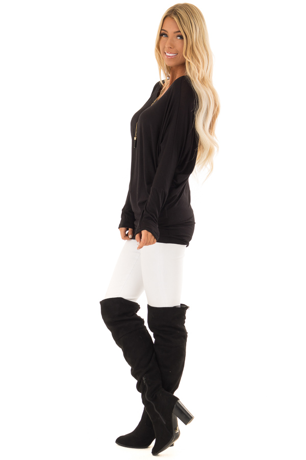 Black Boatneck Top with Long Dolman Sleeves side full body