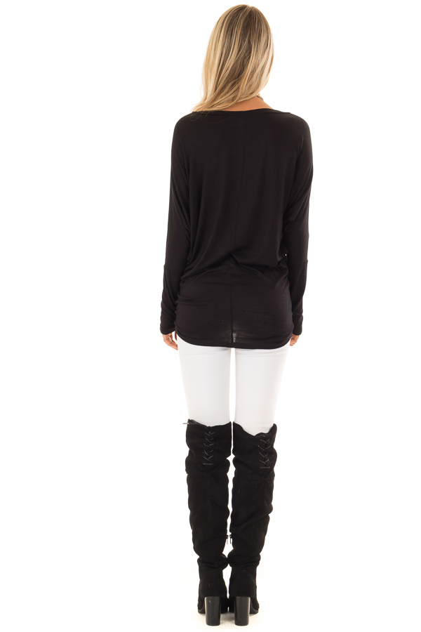 Black Boatneck Top with Long Dolman Sleeves back full body
