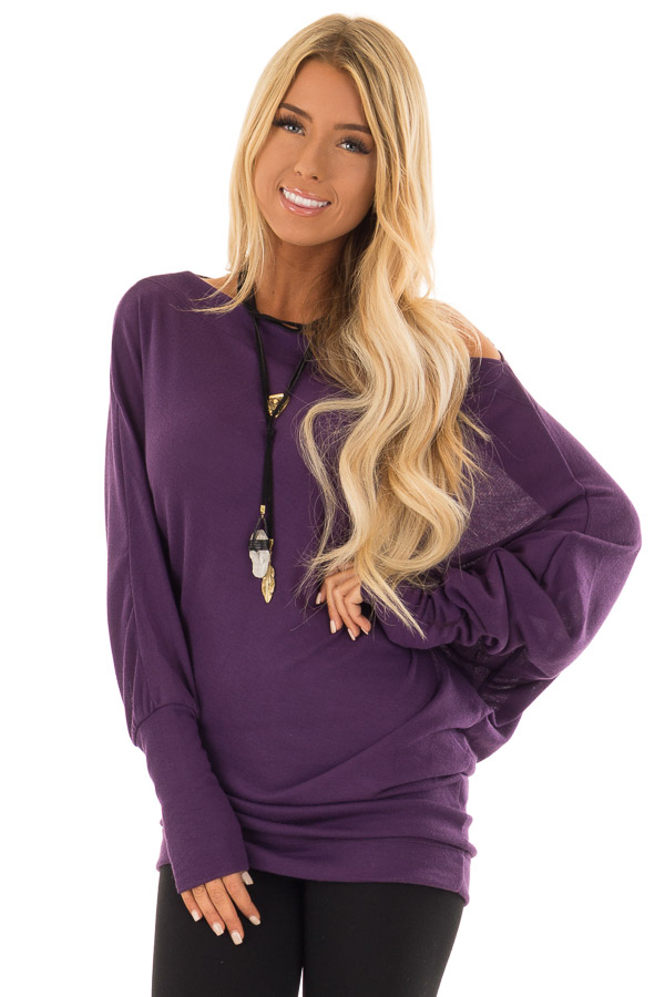 ef1d62574b6c16 Plum Off Shoulder Dolman Top with Long Sleeves - Lime Lush Boutique