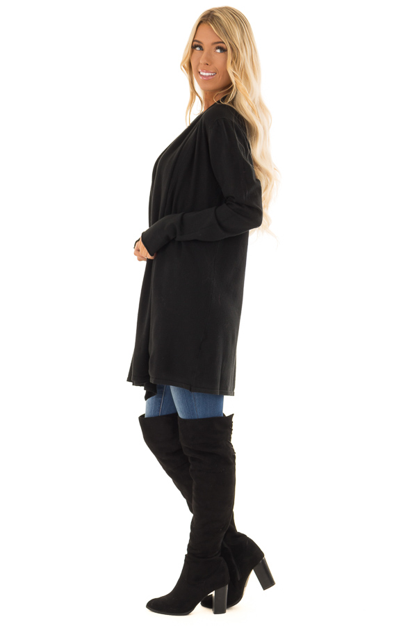 Raven Long Sleeve Open Front Cardigan side full body