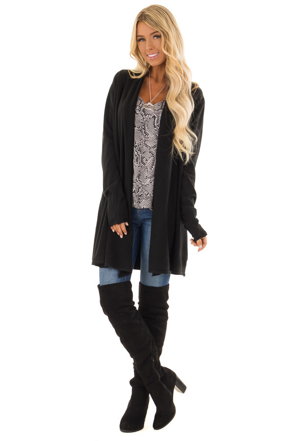Raven Long Sleeve Open Front Cardigan front full body