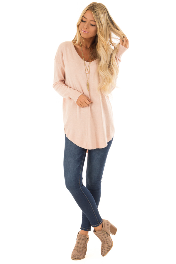 330e67575c ... Blush Long Sleeve Top with Lace Up Back Detail front full body ...