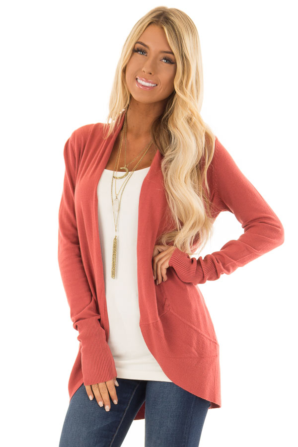 Dusty Brick Super Soft Long Sleeve Open Front Cardigan - Lime Lush ... 265cd94da