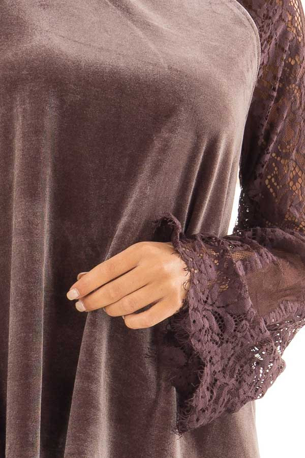 1aaf3ee32e Grape Mock Neck Velvet Top with Long Sheer Lace Sleeves - Lime Lush ...
