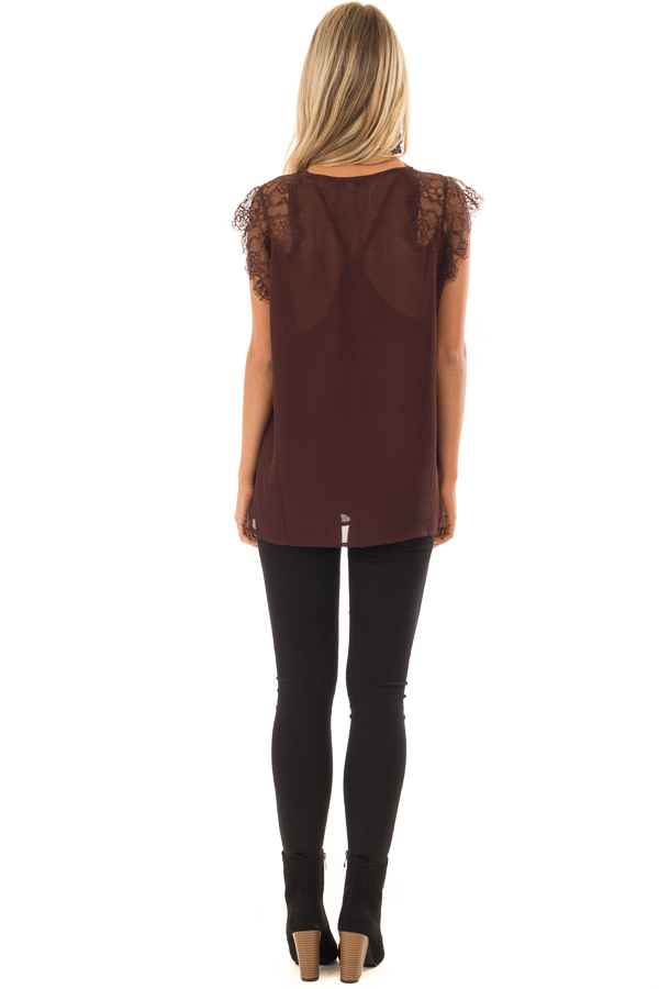 Chocolate Brown V Neck Top with Short Lace Sleeves back full body
