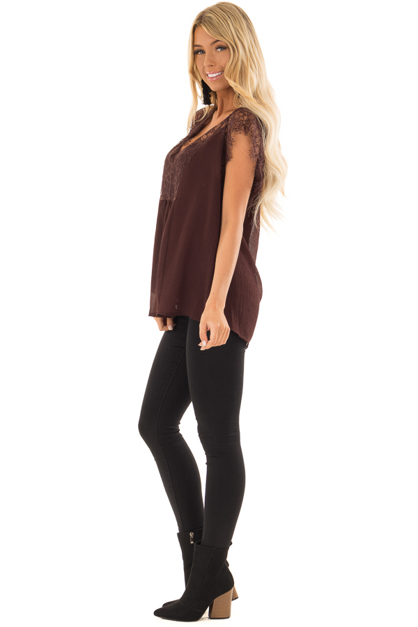 Chocolate Brown V Neck Top with Short Lace Sleeves side full body