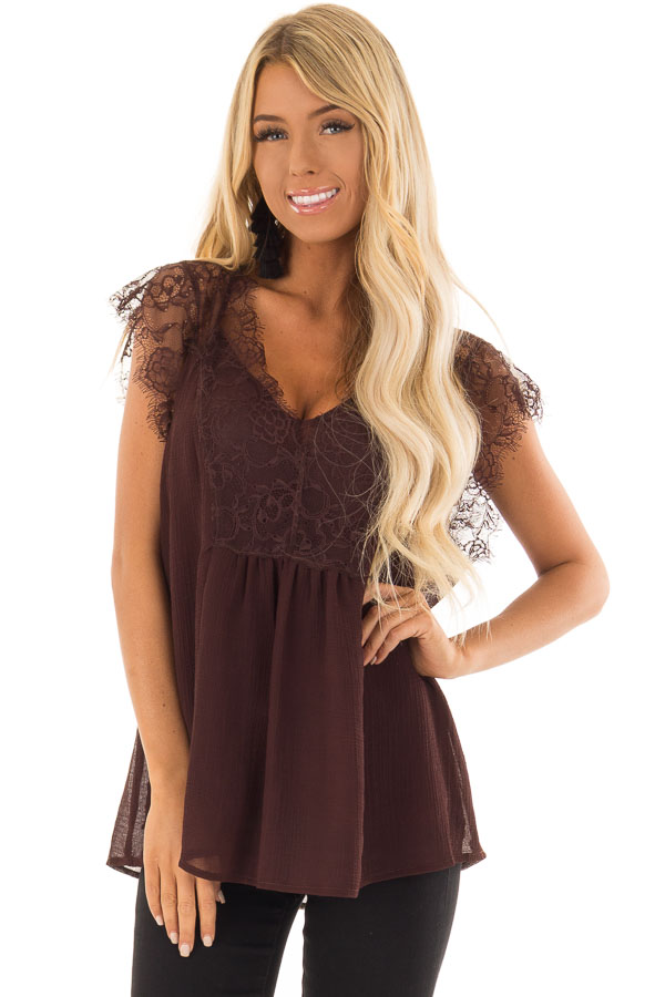 Chocolate Brown V Neck Top with Short Lace Sleeves front closeup