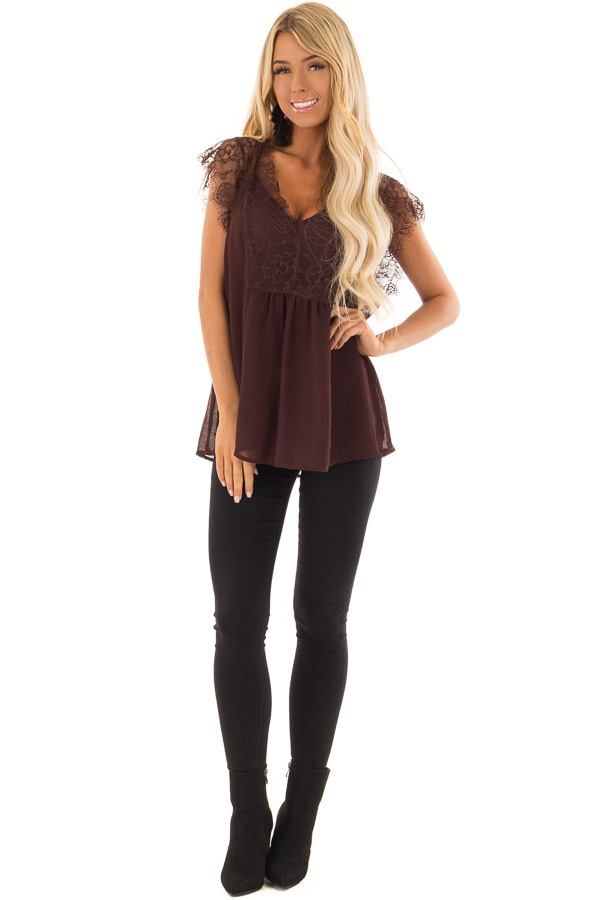 Chocolate Brown V Neck Top with Short Lace Sleeves front full body
