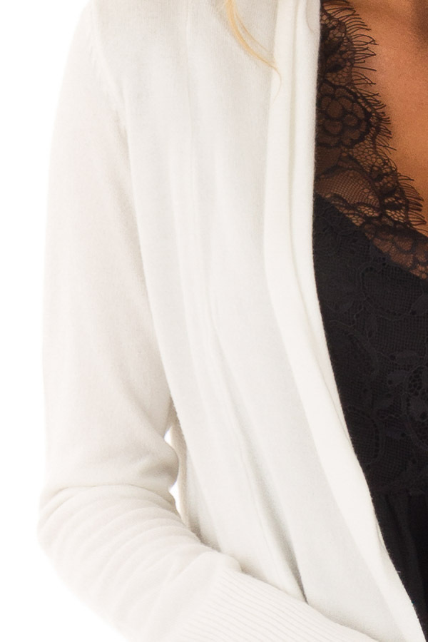 Ivory Super Soft Long Sleeve Open Front Cardigan front detail