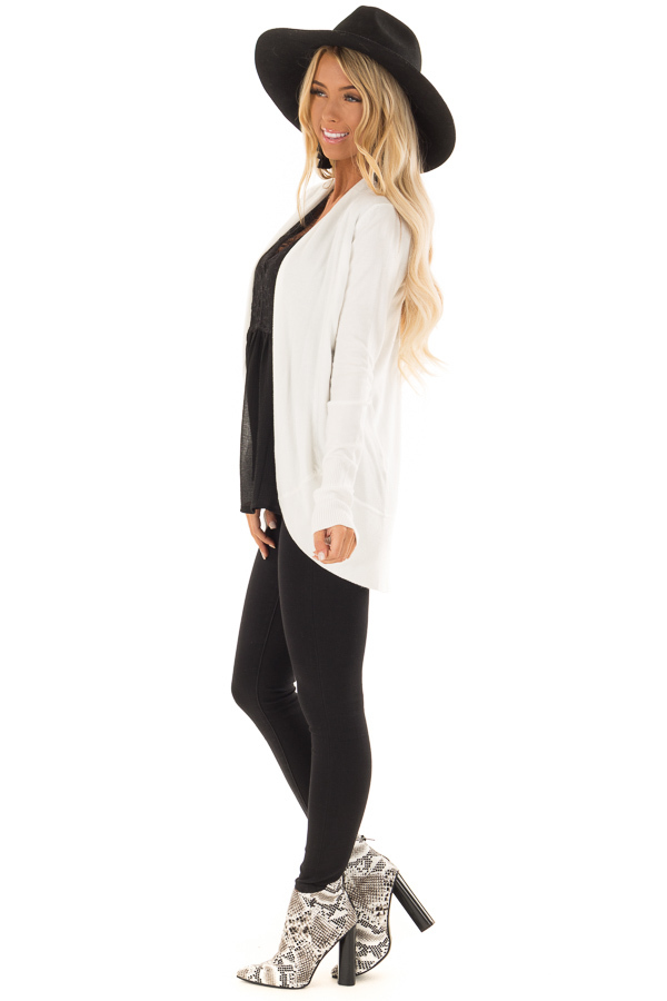 Ivory Super Soft Long Sleeve Open Front Cardigan side full body