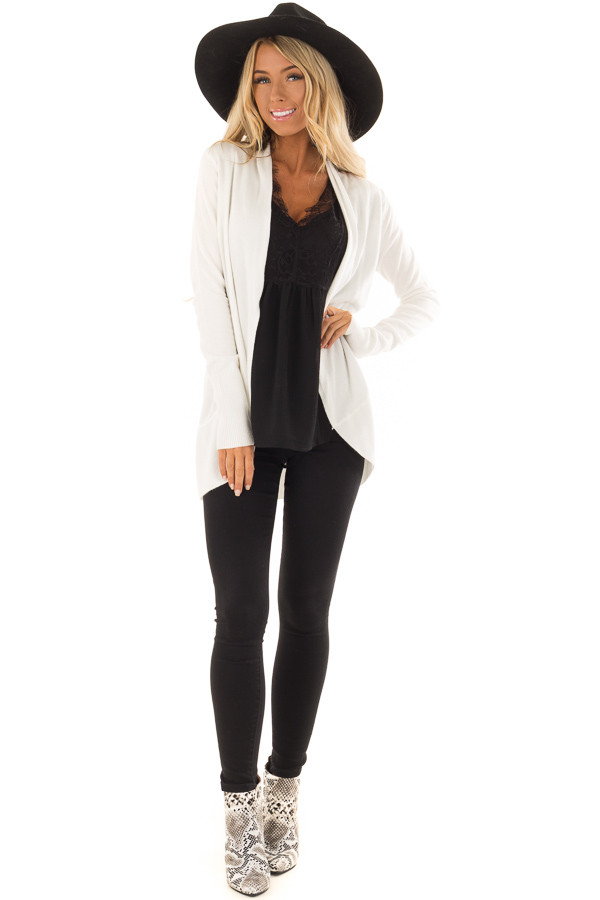 Ivory Super Soft Long Sleeve Open Front Cardigan front full body