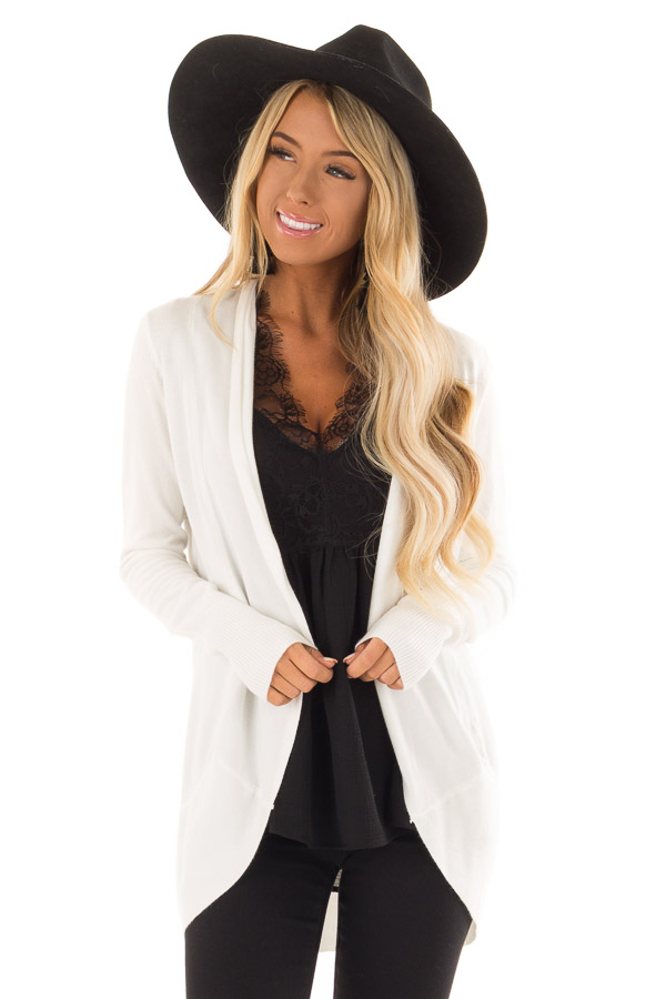 Ivory Super Soft Long Sleeve Open Front Cardigan front closeup