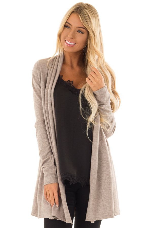 Mocha Long Sleeve Open Front Cardigan - Lime Lush Boutique c5a7838ae
