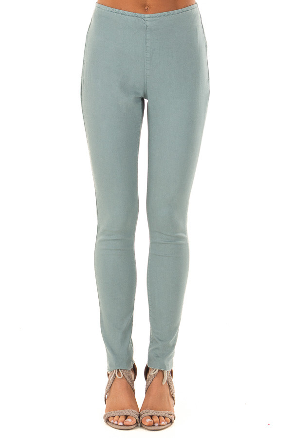 Dusty Teal High Waisted Pants with Back Pockets front view