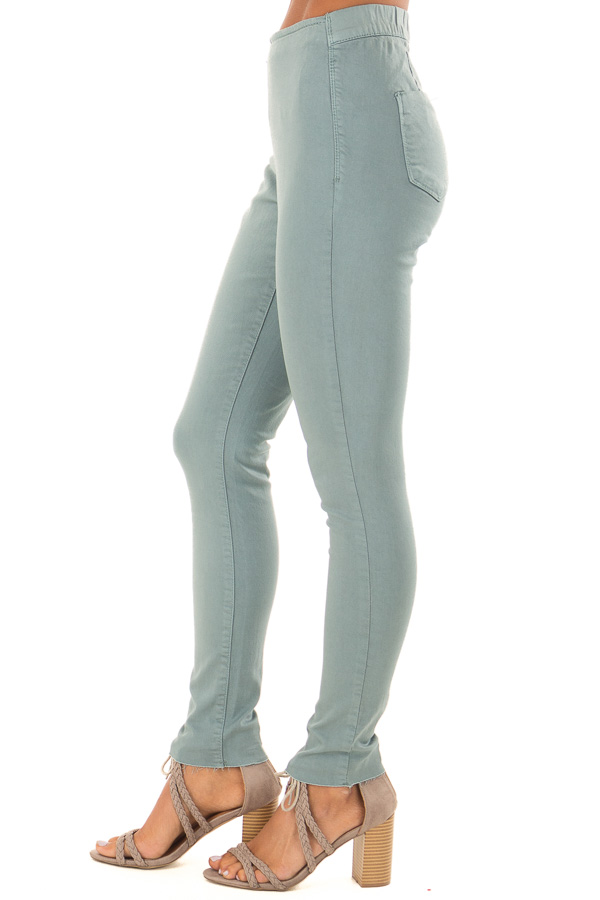 Dusty Teal High Waisted Pants with Back Pockets side view