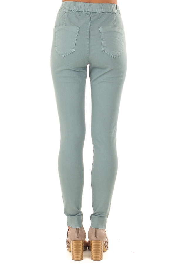 Dusty Teal High Waisted Pants with Back Pockets back view