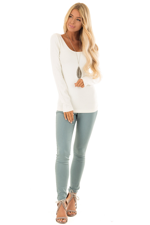 Dusty Teal High Waisted Pants with Back Pockets front full body