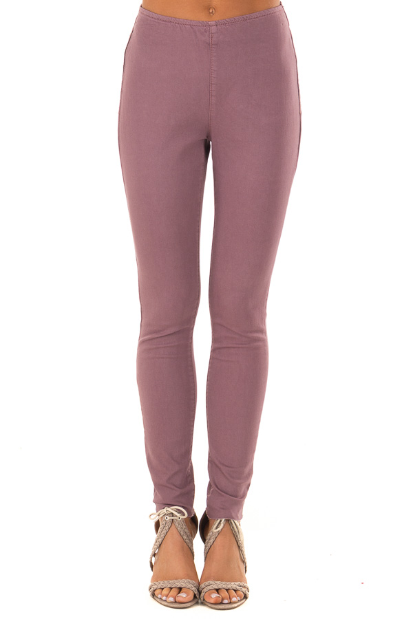 Dusty Plum High Waisted Denim Pants with Back Pockets front view