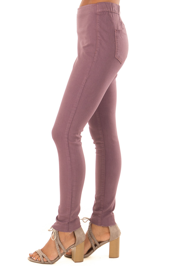 Dusty Plum High Waisted Denim Pants with Back Pockets side view