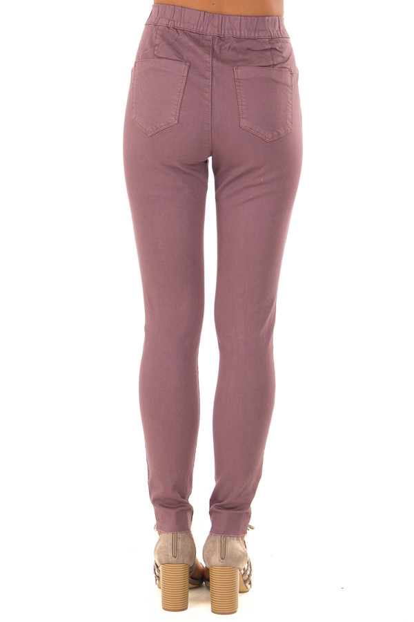 Dusty Plum High Waisted Denim Pants with Back Pockets back view