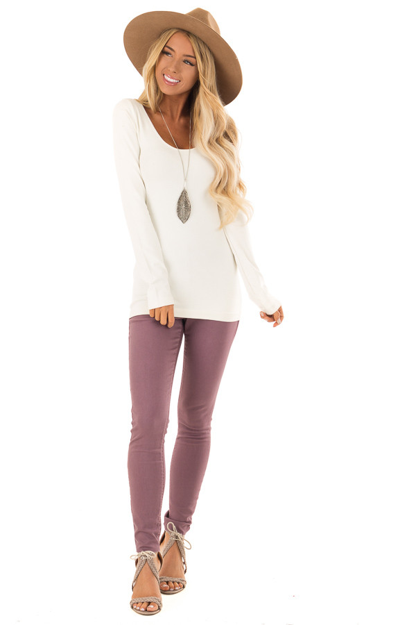 Dusty Plum High Waisted Denim Pants with Back Pockets front full body