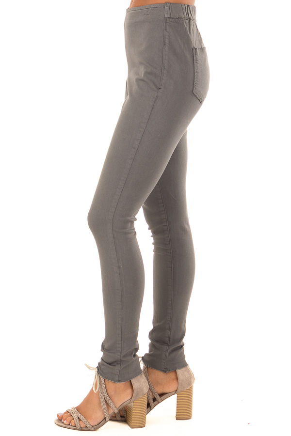 Charcoal High Waisted Denim Pants with Back Pockets side view