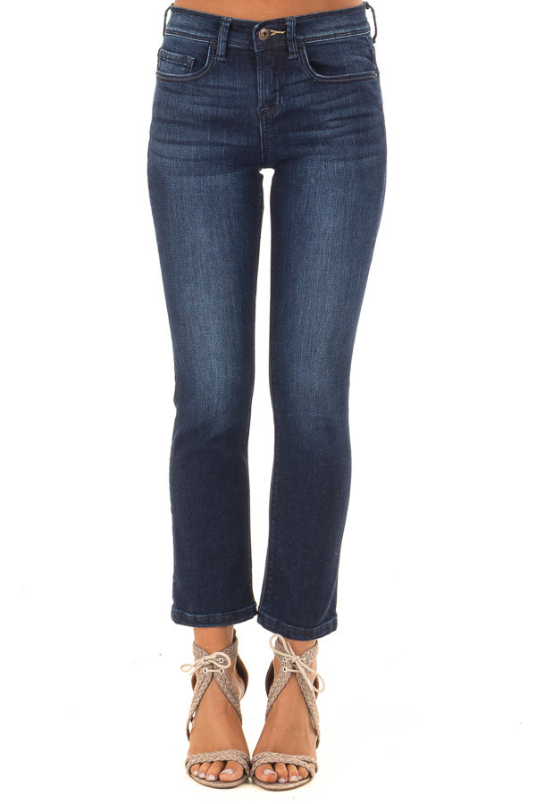 Dark Washed Mid Rise Cropped Flare Jeans with Pockets front view