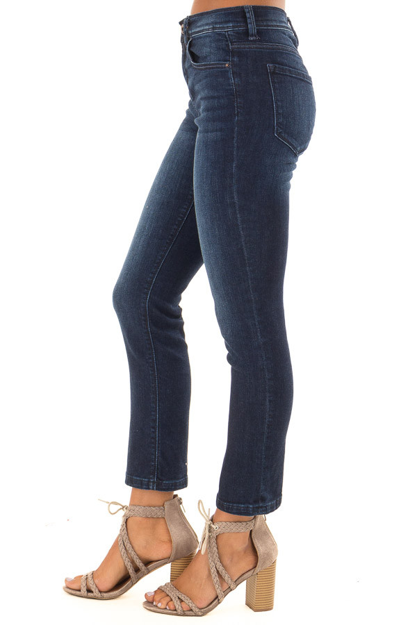 Dark Washed Mid Rise Cropped Flare Jeans with Pockets side view