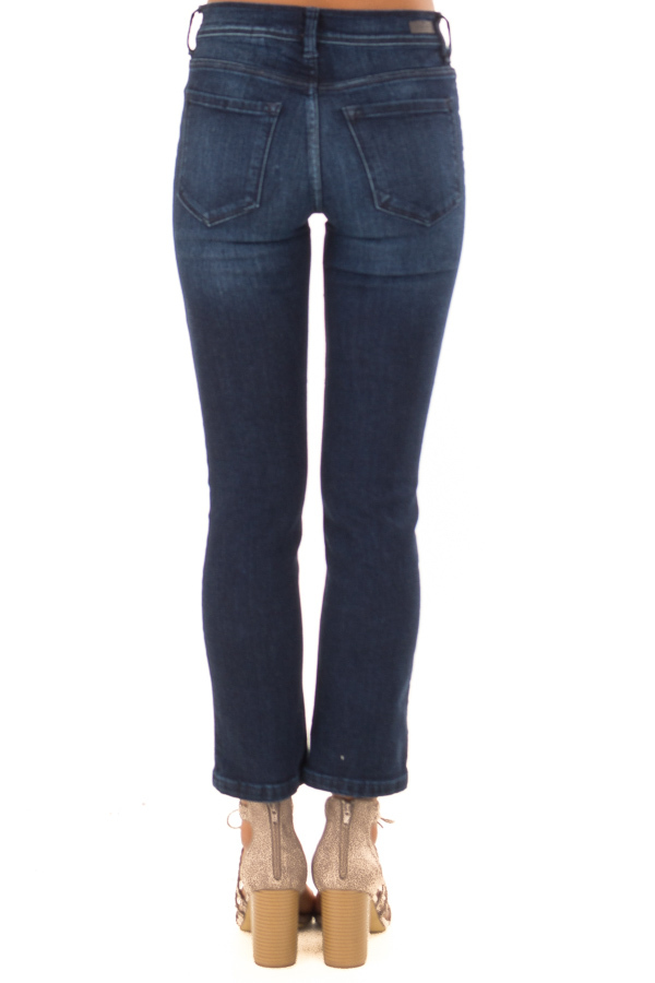 Dark Washed Mid Rise Cropped Flare Jeans with Pockets back view