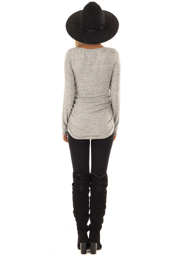 Heather Grey Long Sleeve Top with Side Ruching back full body