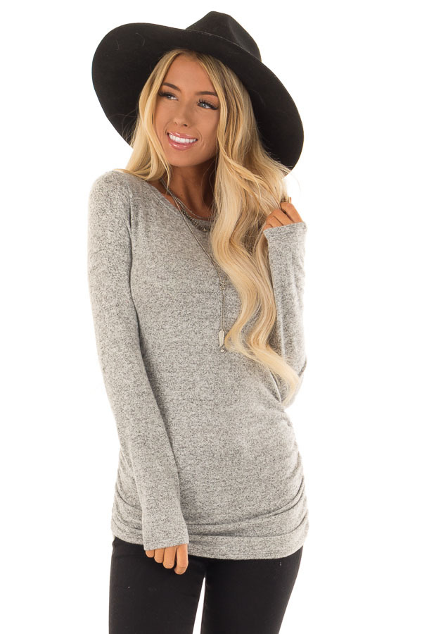 Heather Grey Long Sleeve Top with Side Ruching front close up