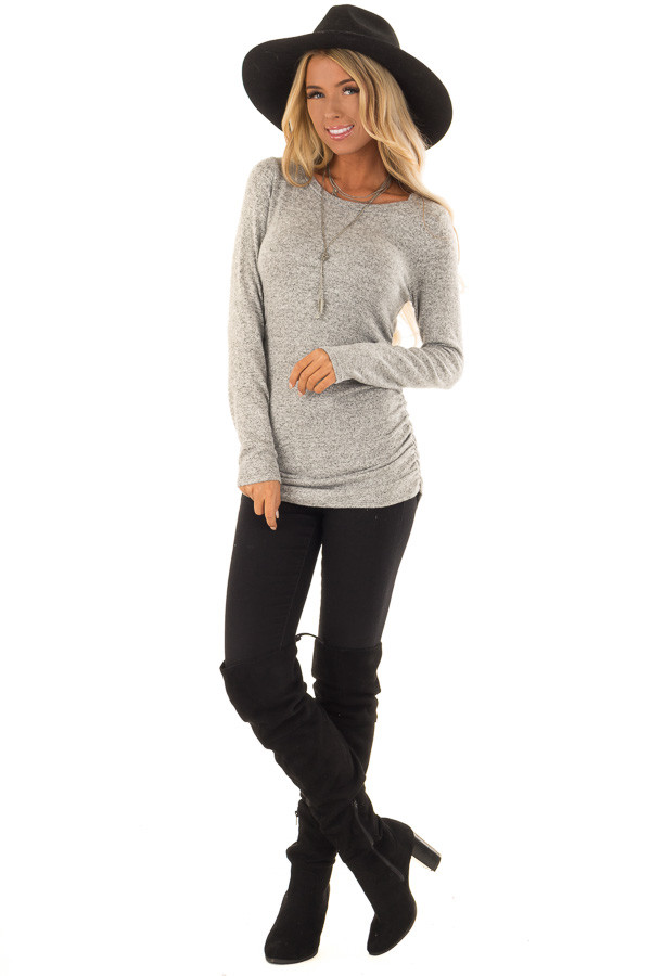 Heather Grey Long Sleeve Top with Side Ruching front full body