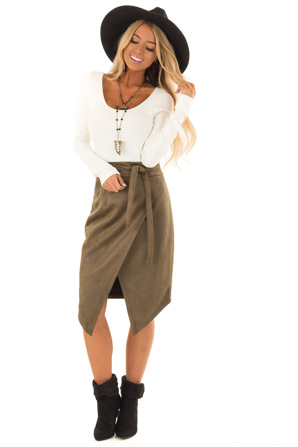 Olive Faux Suede Overlap Skirt with Waist Tie front full body