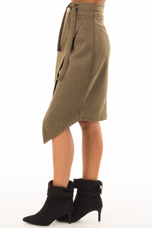 Olive Faux Suede Overlap Skirt with Waist Tie side view