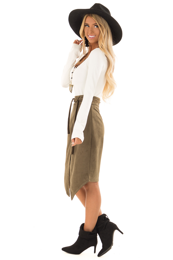 Olive Faux Suede Overlap Skirt with Waist Tie side full body
