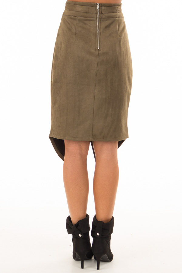 Olive Faux Suede Overlap Skirt with Waist Tie back view