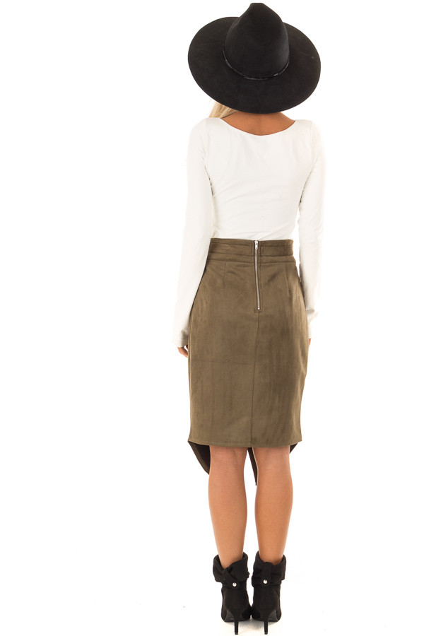 Olive Faux Suede Overlap Skirt with Waist Tie back full body
