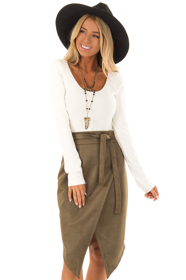 Olive Faux Suede Overlap Skirt with Waist Tie front close up