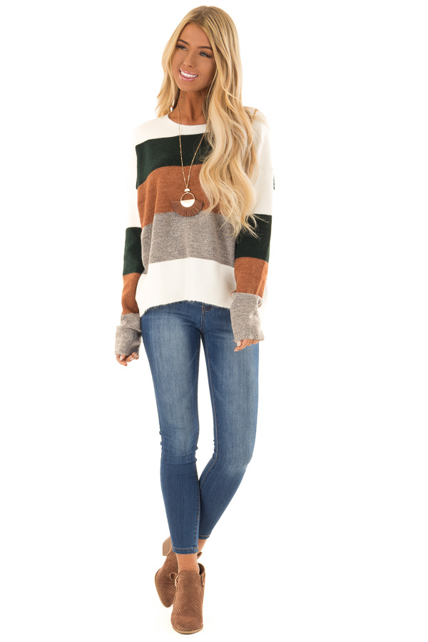 Rust and Hunter Green Color Block Sweater with Long Sleeves front full body