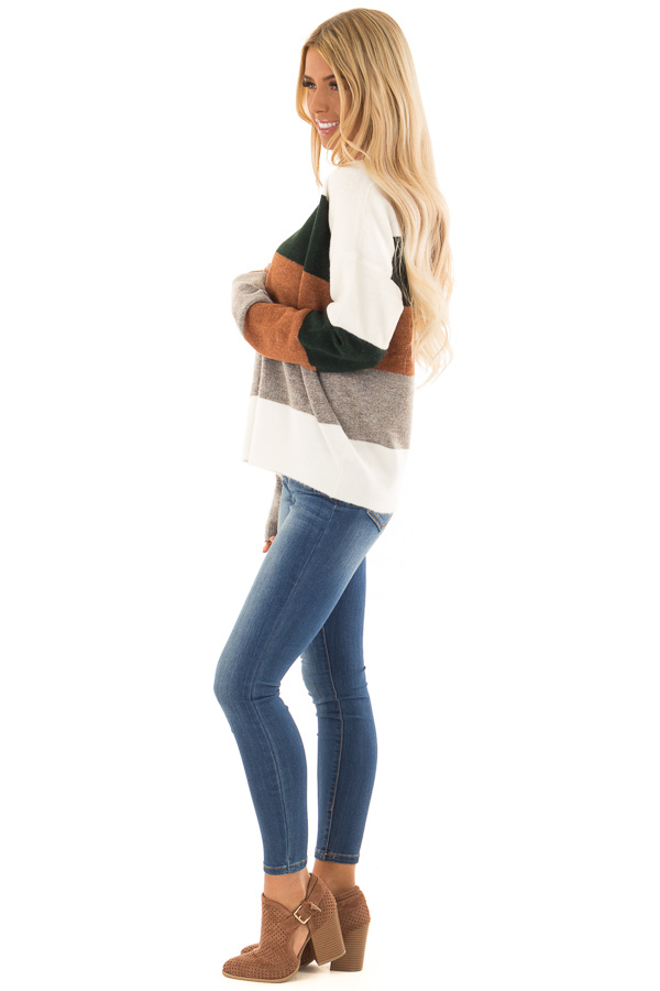 Rust and Hunter Green Color Block Sweater with Long Sleeves side full body